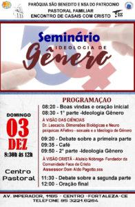 Seminário sobre Ideologia de Gênero na Paróquia São Benedito: Dia 03/12