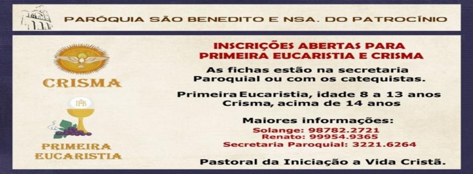 Inscrições abertas para Primeira Eucaristia e Crisma 2018