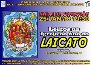 Formação no próximo dia 25/01 sobre os leigos na Igreja no Ano do Laicato