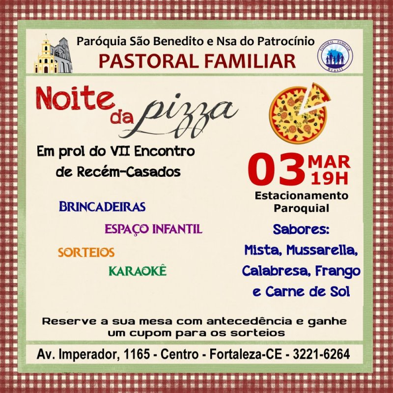 Pastoral Familiar promoverá a Noite da Pizza
