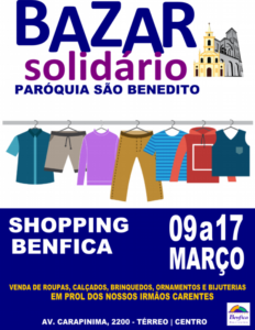 Bazar Solidário de 09 a 17/03 no Shopping Benfica