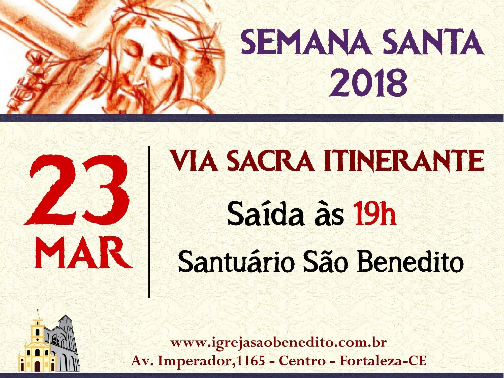 Programação da Semana Santa terá início com Via Sacra Itinerante nesta sexta dia 23