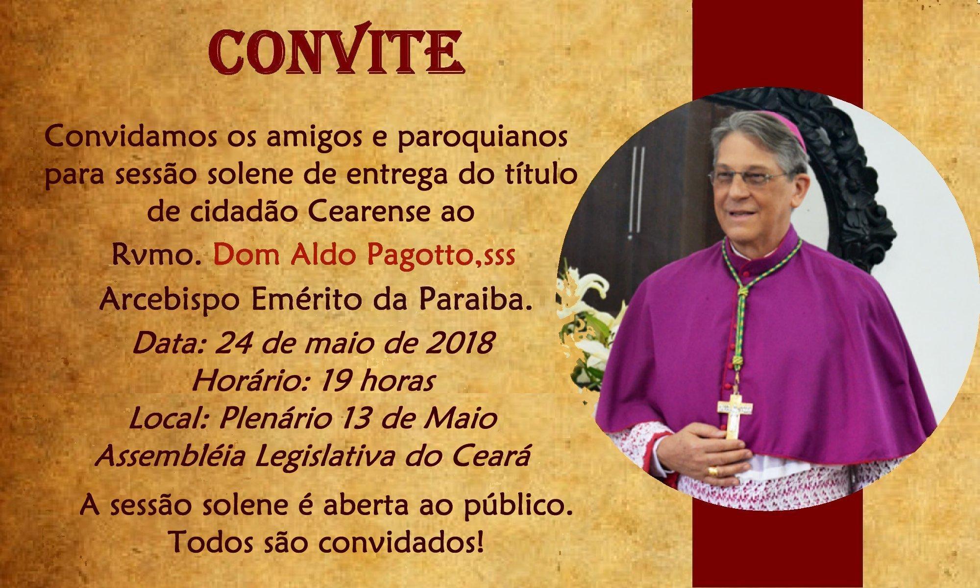 Dom Aldo Pagotto, sss será homenageado com o Título de Cidadão Cearense