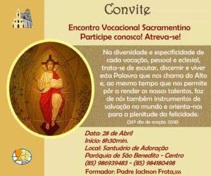 Encontro Vocacional Sacramentino dia 28/04: Participe!