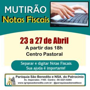 Mutirão Solidário para triagem e digitação de Notas Fiscais de 23 a 27/04. Participe!