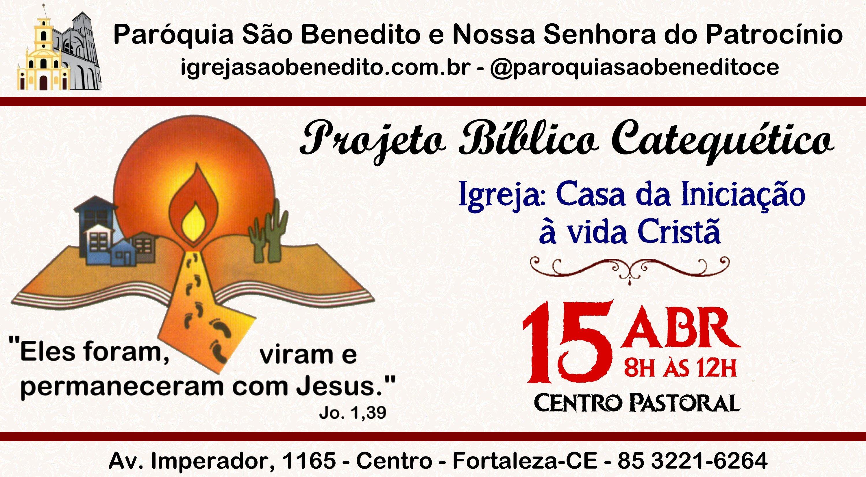 Paróquia São Benedito realizará Projeto Bíblico Catequético próximo dia 15/04