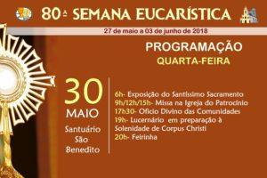 Programação do 4º dia da 80ª Semana Eucarística