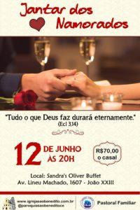 Pastoral Familiar promoverá Jantar dos Namorados dia 12/06