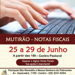 Mutirão Solidário para triagem e digitação de Notas Fiscais de 25 a 29/06. Participe!