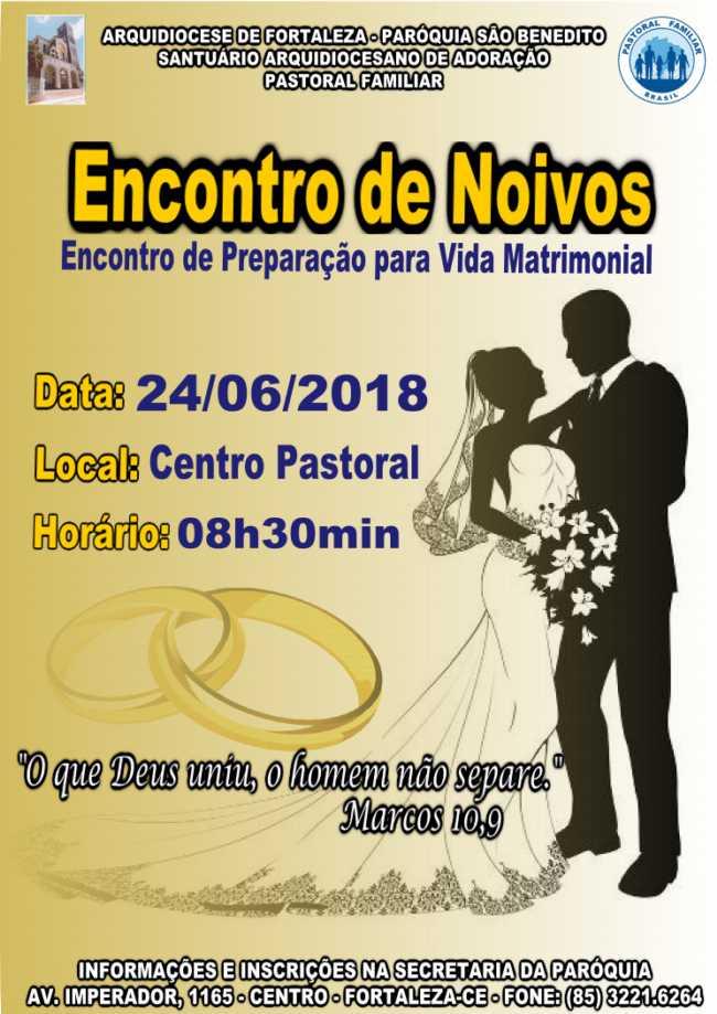 Inscrições abertas para Encontro de Noivos dia 24/06 na Paróquia São Benedito