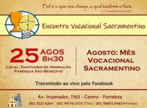 Encontro Vocacional Sacramentino dia 25/08. Participe!