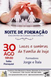 Ecc- Encontro de Casais com Cristo, convida para a Noite de Formação no próximo dia 30/08