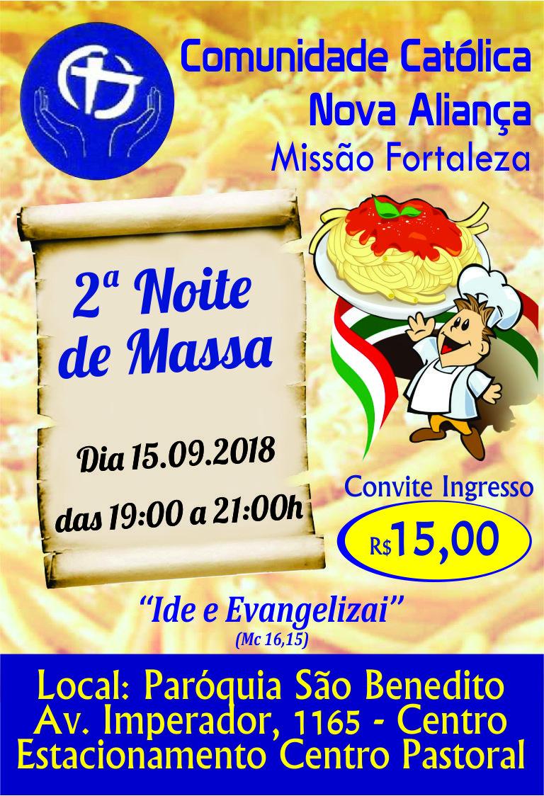Comunidade Nova Aliança promoverá 2ª Noite de Massas dia 15/09