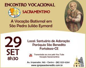 Encontro Vocacional Sacramentino dia 29/09. Participe