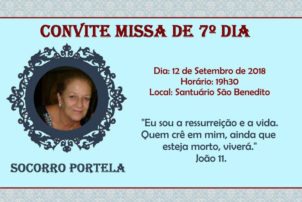 Missa de 7º Dia Socorro Portela hoje, dia 12/09