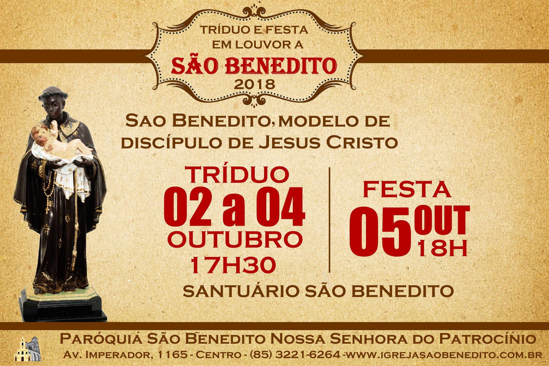 Tríduo e Festa de São Benedito de 02 a 05 de Outubro 2018