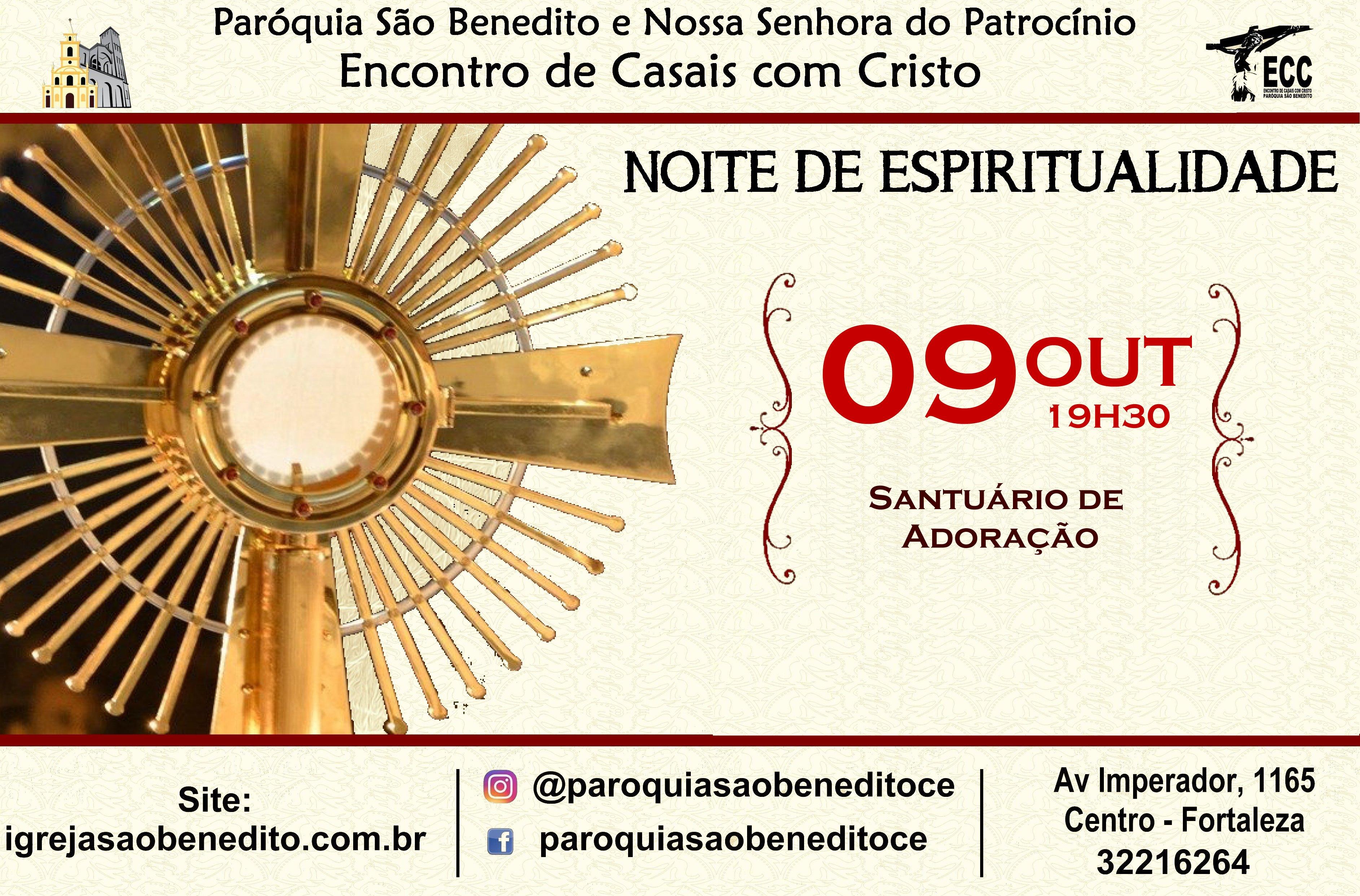 Noite de Espiritualidade dia 09/10. Participe!