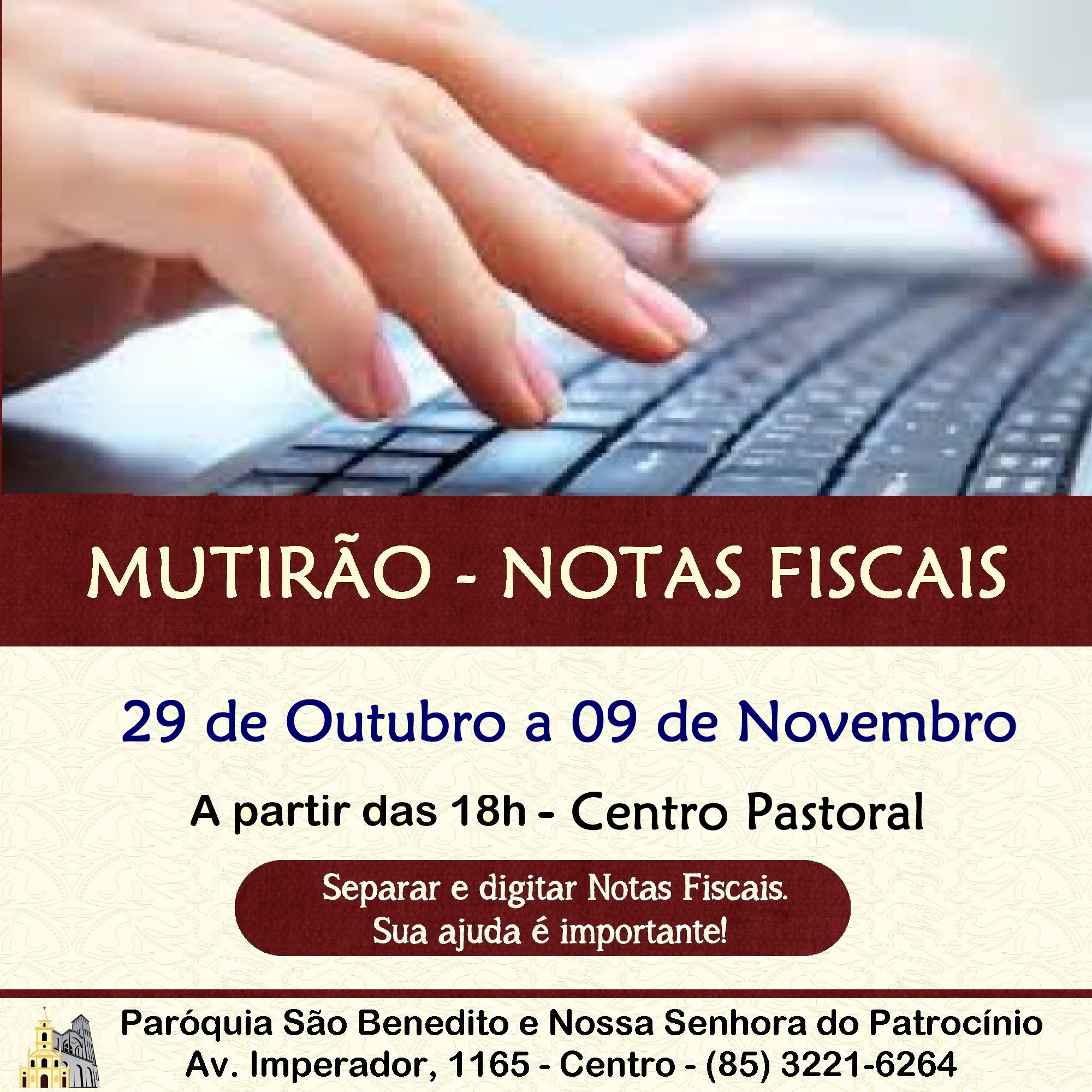Mutirão Solidário para triagem e digitação de Notas Fiscais de 29 de Outubro a 09 de novembro. Participe!!