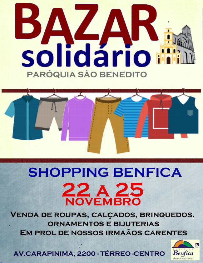 Bazar Solidário de 22 a 25/11 no Shopping Benfica
