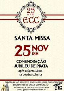 Encontro de Casais com Cristo convida para comemoração de seu Jubileu de Prata, 25/11