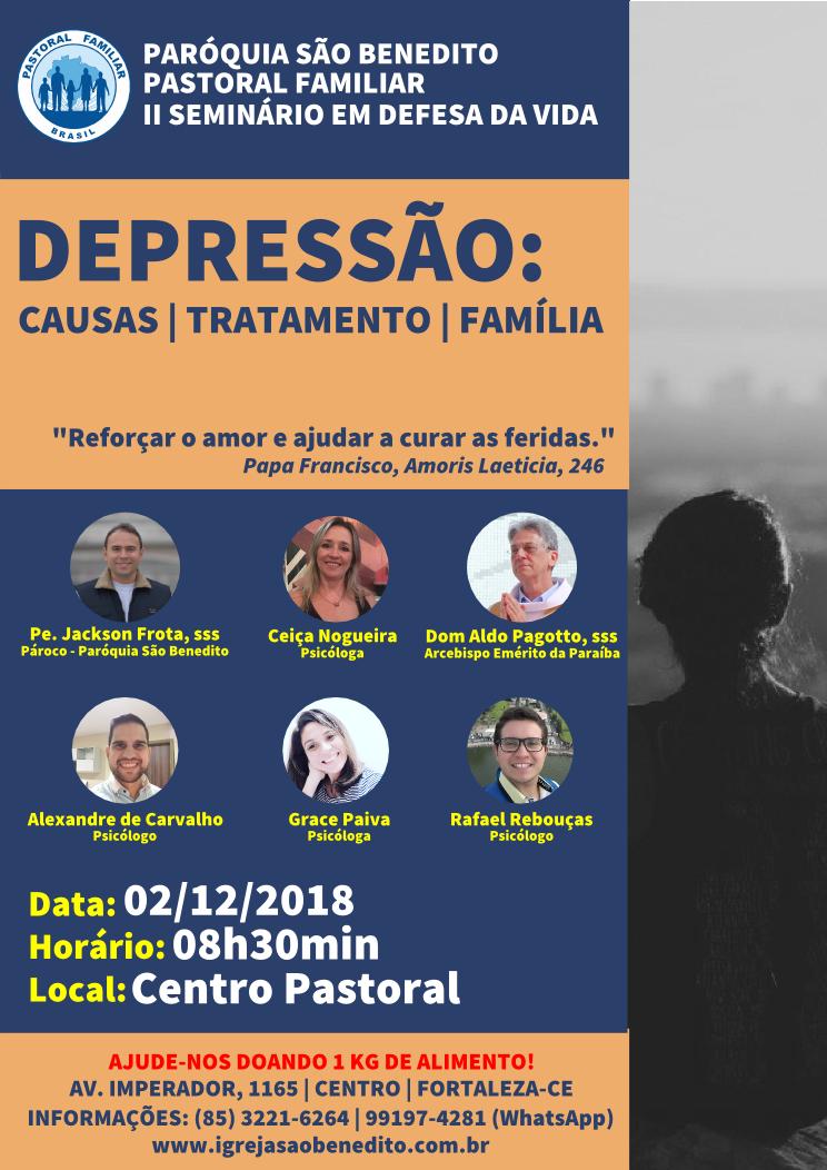 Seminário sobre Depressão na Paróquia São Benedito dia 02/12: Participe!
