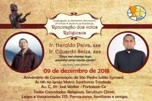Renovação dos votos de Ir. Eduardo Sales,sss e Francisco Haroldo Paiva,sss, dia 09/12.