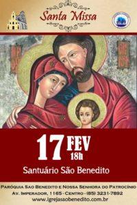 Pastoral Familiar convida para a Santa Missa do mês de Fevereiro 17/02