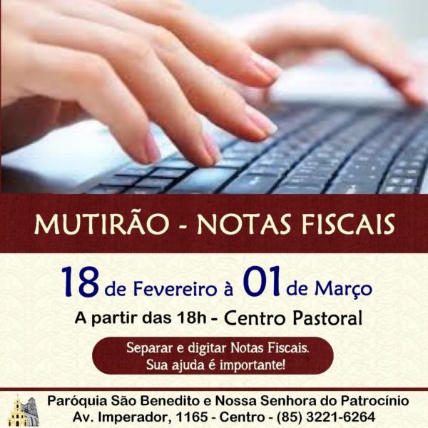 Participe do Mutirão Solidário para triagem e digitação de Notas Fiscais de 18/02 à 01/03
