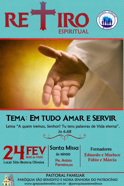Retiro Espiritual da Pastoral Familiar no próximo dia 24/02