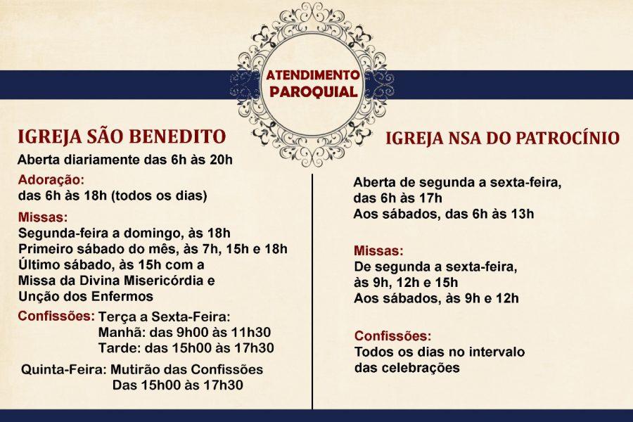Confira os novos horários para confissões na Paróquia São Benedito