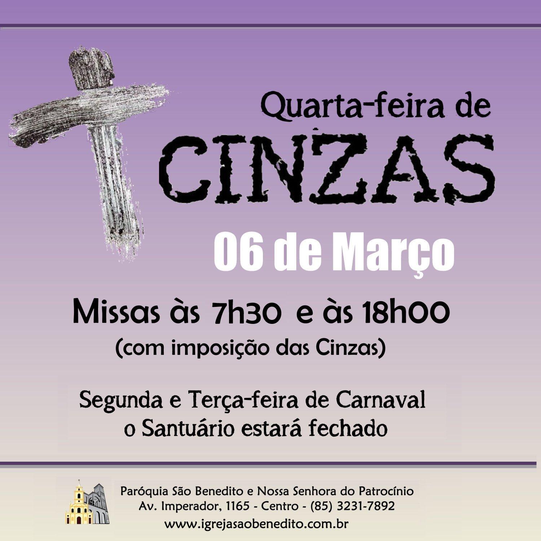 Quarta-feira de Cinzas na Paróquia São Benedito. Participe!