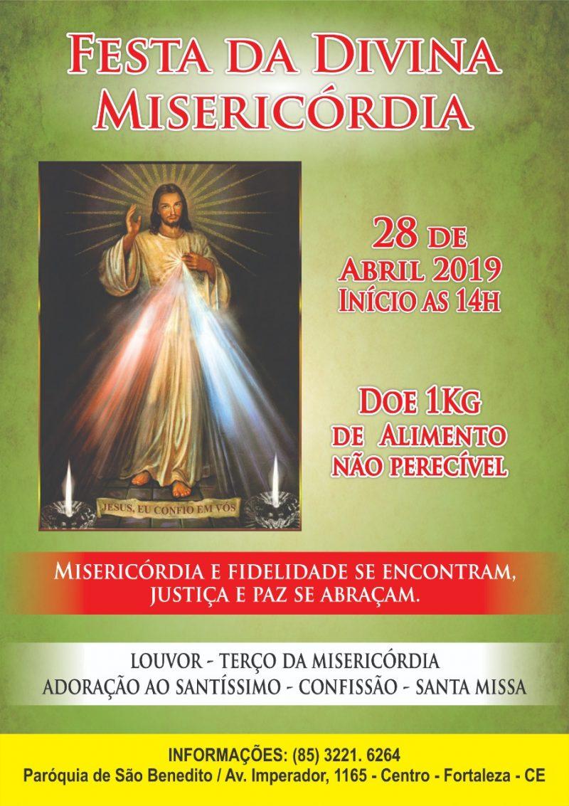 Festa da Divina Misericórdia 2019 dia 28/04 no Santuário e Paróquia de São Benedito
