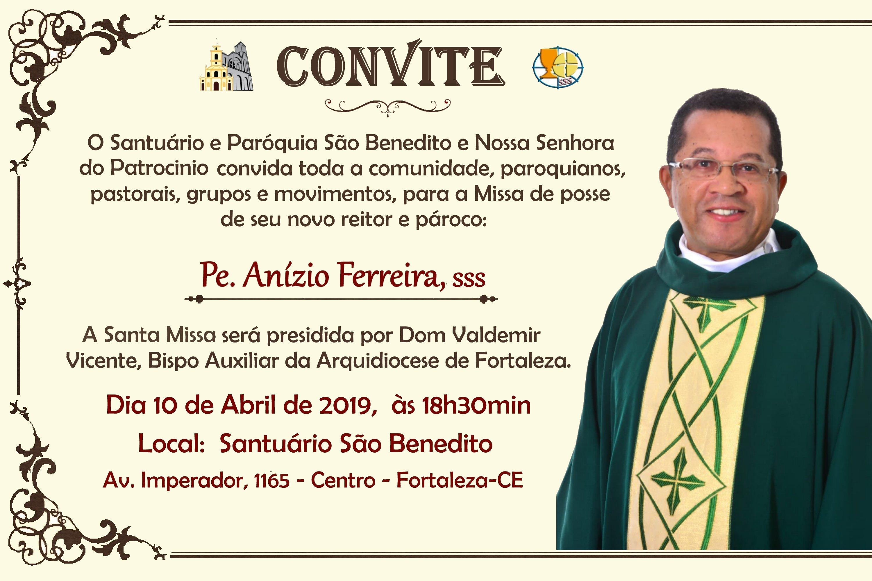 Missa de posse do novo reitor e pároco do santuário no próximo dia 10/04