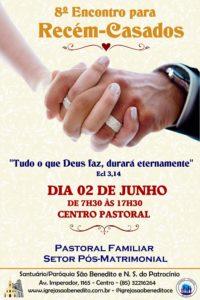 Inscrições abertas para o 8º Encontro para Recém-casados dia 02/06