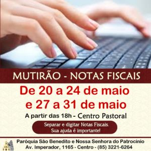 Participe do Mutirão Solidário para triagem e digitação de Notas Fiscais de 20 a 24 de maio e de 27 a 31 de maio