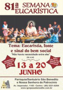 Participe da 81ª Semana Eucarística do Santuário e Paróquia de São Benedito de 13 a 20 de junho