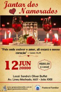 Pastoral Familiar realizará o Jantar dos Namorados dia 12/06. Participe.