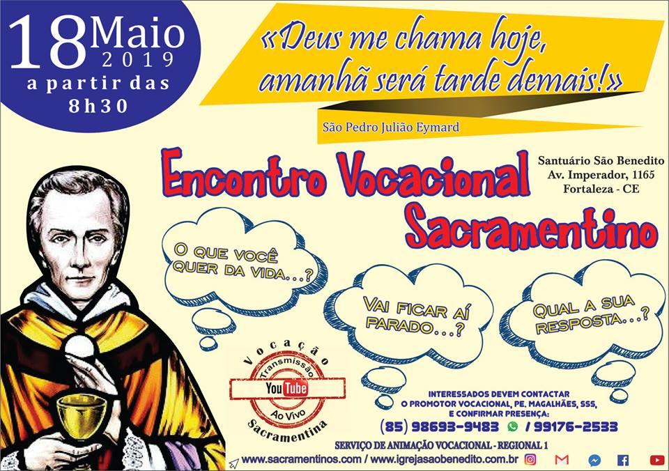 Encontro Vocacional Sacramentino dia 18/05. Participe!