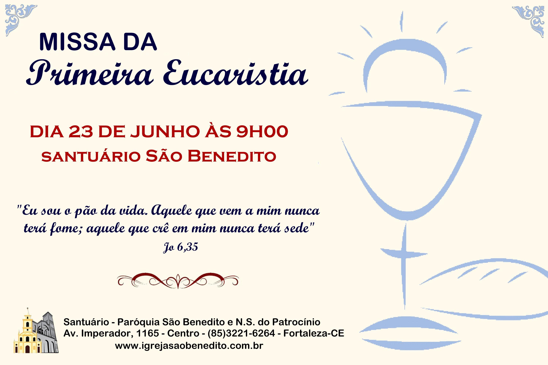 Convite para Celebração de Primeira Eucaristia no próximo dia 23/06 na Paróquia São Benedito
