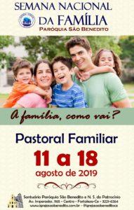 Pastoral Familiar realizará Semana Nacional da Família 2019, de 11 a 18 de Agosto