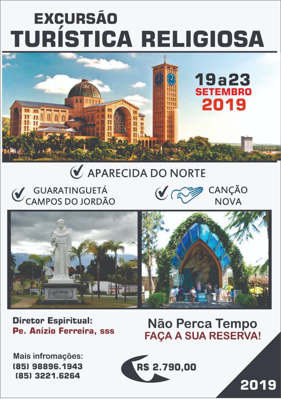 Excursão Turística Religiosa com Pe. Anízio para Aparecida e Canção Nova em setembro: Participe!
