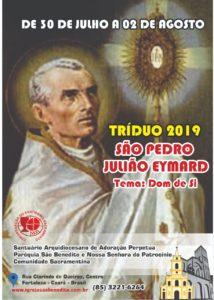 Tríduo e Festa de São Pedro Julião Eymard de 30/07 a 02/08 na Paróquia São Benedito