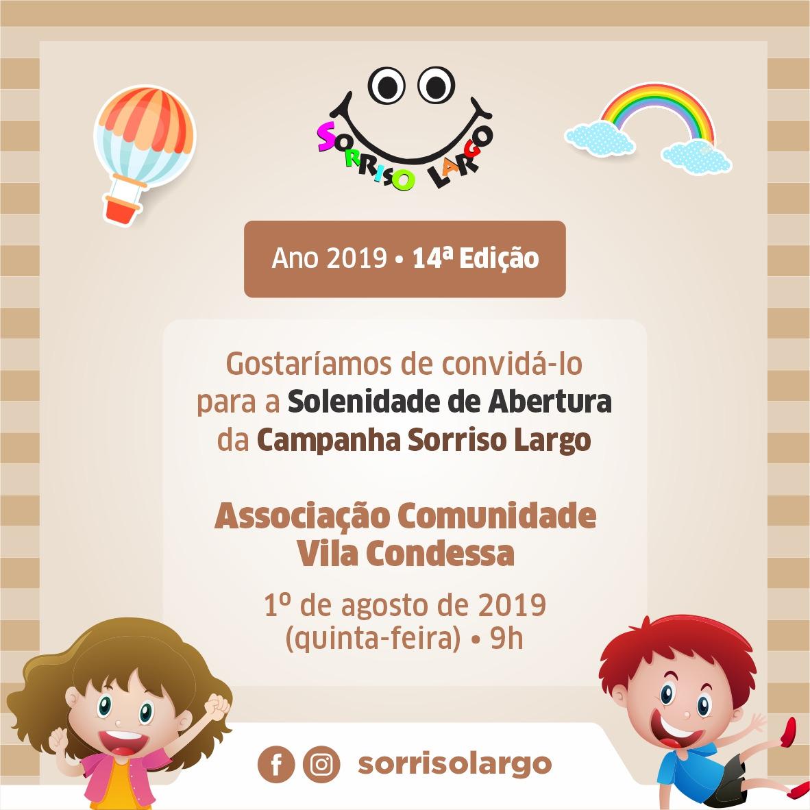 Lançamento da 14ª Campanha Sorriso Largo de Criança 2019 na Paróquia São Benedito, 01/08
