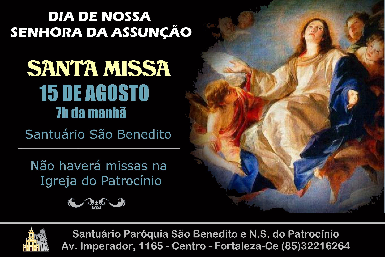 Missa de Nossa Senhora da Assunção, 15/08 na Paróquia São Benedito. Participe!