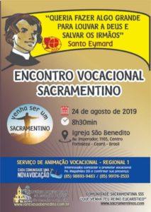 Encontro Vocacional Sacramentino dia 24/08. Participe!