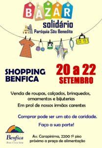 Bazar Solidário de 20 a 22/09 no Shopping Benfica