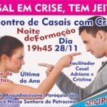 """Noite de formação do ECC na próxima quinta dia 28/11 com o tema """"Casal em Crise, tem jeito?"""""""