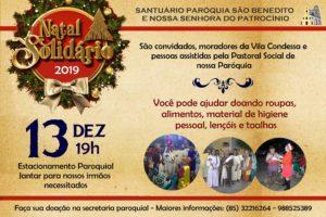 Natal Solidário 2019 próximo dia 13/12. Participe.