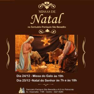Horários das celebrações de Natal na Paróquia São Benedito