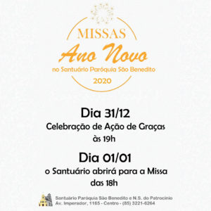 Horários das missas de fim de ano na Paróquia São Benedito